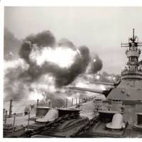 USS Iowa in Action: Photo credit USN