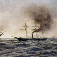 USS Kearsarge vs. CSS Alabama. Painting by Xanthus Smith, 1922, depicting Alabama sinking, at left, after her fight with the Kearsarge (seen at right). (Courtesy of the Franklin D. Roosevelt Library, Hyde Park, New York. Official U.S. Navy Photograph.)