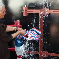 """USS Montford Point Christening by Alexis """"Jackie"""" Bolden: Photo credit USN"""