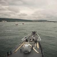 USS Vella Gulf (CG 72) approaches Varna, Bulgaria (U.S. Navy photo by Edward Guttierrez III)