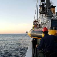 MUSCLE Autonomous Underwater Vehicle Deployment. Photo courtesy of CMRE