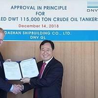 Vidar Dolonen, Regional Manager of Korea & Japan at DNV GL – Maritime (left), presents the AiP certificate to Yong-Duk Park, CEO & President of DHSC. Photo: DNV GL
