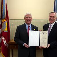 Washington D.C. (Feb. 28, 2013) Secretary of the Navy (SECNAV) Ray Mabus presents the Department of the Navy's highest award for civilians, the Navy Distinguished Public Service Medal, to U.S. Senator Roger Wicker.