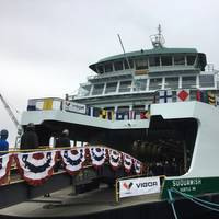 Washington State's new ferry Squamish was christened at Vigor's Harbor Island Shipyard in Seattle, on January 4. (Photo: WSDOT)
