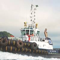 WS Procyon is a powerful 32 meter azimuth escort tug. (Photo: Wilson Sons Towage)
