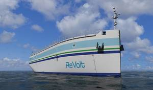 ReVolt The unmanned, battery powered vessel ReVolt is envisioned by DNV GL to revolutionize short-sea shipping.  (Image: DNV GL)