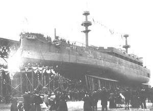 Kentucky (BB-6) ready for launching at the Newport News Shipbuilding and Dry Dock Company shipyard, Newport News, Virginia, March 24, 1898. Note chalk marks on her hull plating, indicating the planned location of fittings and gun ports. (Photo: U.S. Naval Historical Center)