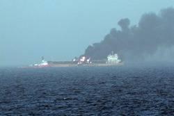 Tanker Ablaze in Persian Gulf: Photo credit USN