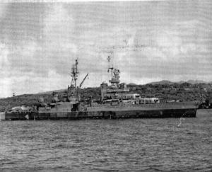 USS Indianapolis (CA 35) on July 27, 1945 heading for sea from Apra Harbor, Guam.  This is likely the last photo taken of the ship. (U.S. Navy Photo by Gus Buono, from the Collection of David Buell)