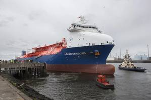 GasChem Beluga, pictured on the River Tees for its naming ceremony, is an eco-friendly sea vessel that will carry shipments of ethane gas from Houston in the U.S. to SABIC's Olefins Cracker on Teesside. (Photo: SABIC)