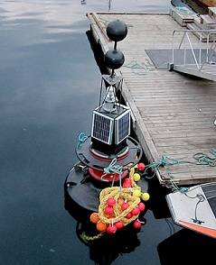 A Tideland SB-138P buoy waiting installation in the Port of Narvik