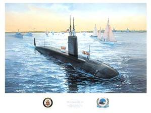 Oil on canvas by the artist Tom Freeman entitled Homecoming, Annapolis Commissioning. The Annapolis (SSN-760) was commissioned 11 April 1992 at the Electric Boat Div., General Dynamics Corp, Groton, CT. (Courtesy of USNI)