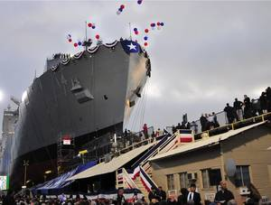 USNS Cesar Chavez (T-AKE-14) was christened and launched at General Dynamics National Steel and Shipbuilding Companys shipyard in San Diego, May 5, 2012 (U.S. Navy photo by MCSN Jasmine Sheard)