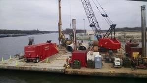 Byrne & Jones Construction built barge dolphins along the Des Plaines River for Exxon Corp. in its first marine division project after acquiring Peoria, Ill.-based Midwest Foundations. (Photo: Byrne & Jones Construction)