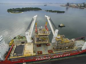 HANSA HEAVY LIFT has transported five pipe racks and three modules, weighing a total of 1,871.51 metric tons and measuring 24,075 m³, for a new FPSO unit off the coast of Brazil (Photo: HANSA HEAVY LIFT)