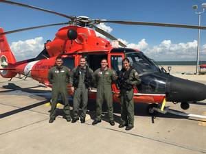 The MH-65 air crew that performed the medevac. (U.S. Coast Guard Photo by Sector Corpus Christi)
