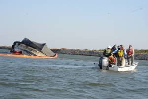 Spirit of Sacramento capsized near Bethel Island, Calif. (U.S. Coast Guard photo by Adam Stanton)