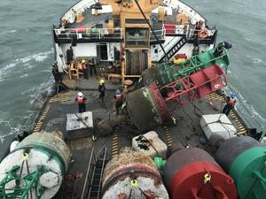 The Coast Guard Cutter Cypress crew works to correct aid to navigation in the Savannah River after Hurricane Matthew Oct. 12, 2016. The Cypress is a 225-foot buoy tender built for maintaining aids to navigation. (U.S. Coast Guard photo courtesy of Coast Guard Cutter Cypress)
