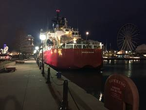 Coast Guard cutter Mackinaw is moored at Navy Pier in Chicago. Loaded with 1,200 Christmas trees, Mackinaw arrived in Chicago to serve as this years Christmas Ship. (U.S. Coast Guard photo by Brian Hinton)
