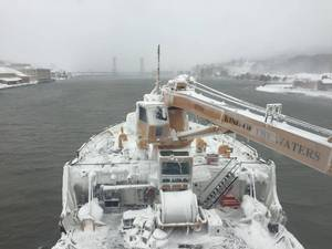 The Coast Guard Cutter Alder approaches the Portage Lake Lift Bridge in Houghton, Mich., Dec. 16, 2016. The Alder and other Great Lakes Coast Guard cutters commenced Operation Taconite, the Coast Guard's largest domestic ice-breaking operation, encompassing Lake Superior, the St. Mary's River, the Straits of Mackinac and Lake Michigan, Dec. 19, 2016. (U.S. Coast Guard photo)