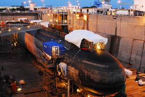 The Virginia-Class attack submarine USS Hawaii (SSN 776) undergoes routine inspections and repairs in Pearl Harbor Naval Shipyard. Hawaii is the first U.S. Pacific Fleet Virginia-class submarine to enter dry dock in Pearl Harbor. (U.S. Navy photo by Liane Nakahara/Released)