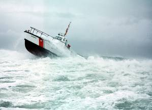 A Coast Guard 44-footer underway in heavy weather. (U.S. Coast Guard photo)