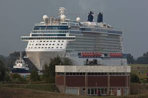 There are few maritime sites as spectacular as seeing a newly built cruise ship, in this case Celebrity Reflection, make the journey from the Meyer Shipyard, Papenburg up the river Ems to the North Sea.
