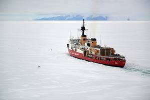The crew of the Coast Guard Cutter Polar Star operates near two seals off the shore of Antarctica, Jan. 16, 2017. U.S. Coast Guard photo by Chief Petty Officer David Mosley