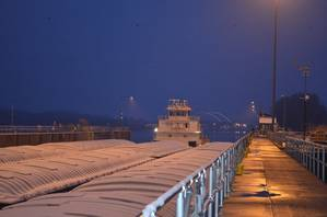 M/V New Dawn broke through Lake Pepin ice overnight and locked through Lock and Dam 2 around 7:45 a.m. on March 25 (Photo by Pamela Niebur)