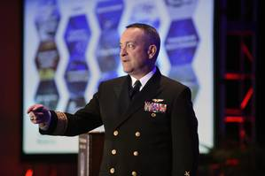 Rear Adm. Mat Winter, chief of naval research, discusses game changing technology for the warfighter during a keynote address at the 28th annual Surface Navy Association (SNA) National Symposium. (U.S. Navy photo by John F. Williams)