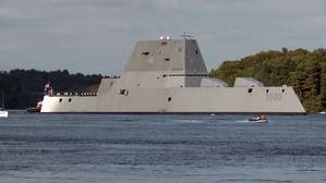 The future USS Zumwalt (DDG 1000) departing Bath Iron Works (U.S. Navy photo)