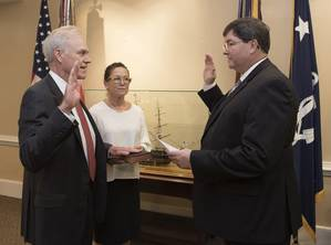 Richard V. Spencer is sworn in as the 76th Secretary of the Navy by William ODonnell, Department of the Navy administrative assistant. (U.S. Navy photo by Jonathan B. Trejo)
