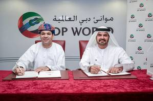 Mohammed Al Muallem, Senior Vice President and Managing Director of DP World, UAE Region, and Moosa Al-Moosa, President of Dow UAE during the signing ceremony in Jebel Ali, attended by senior officials from both organizations. (Photo: DP World)