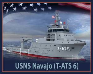An artist rendering of the future USNS Navajo (T-TATS 6). (U.S. Navy photo illustration/Released)