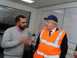 The Foreign Secretary Boris Johnson visiting Coldharbour Marine (Credit: Nottingham Post / Coldharbour Marine)