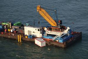 Barge Master T700 supporting crane operations in the North Sea