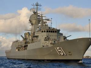 HMAS Arunta on her first day at sea conducting a boat transfer (Australia Department of Defense photo)