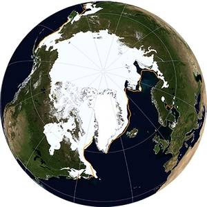 A NASA Blue Marble view of Arctic sea ice on March 21, 2014.