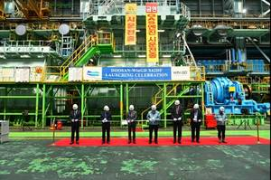 The Wärtsilä 6X62DF engine's launching celebration at Doosan's works in Changwon, Korea. (Photo: WinGD)