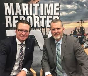 Knut Ørbeck-Nilssen, CEO Maritime, DNV GL and Greg Trauthwein, Editor, Maritime Reporter & Engineering News. (Photo: Eric Haun)