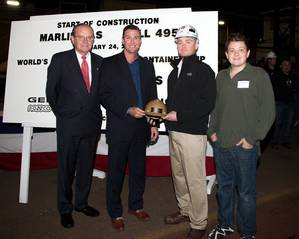 From left: Peter Keller, EVP of TOTE; Congressman Duncan Hunter, Walter Tschernkowitsch, Manager, General Dynamics NASSCO Steel Dept. and Duncan Hunter, Congressman Hunters son who did the honors of making the first cut of steel on TOTEs new Marlin Class hull #495.