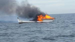 Lobster boat Dawn Breaker ablaze near Ipswich, Mass. (Photo: U.S. Coast Guard)