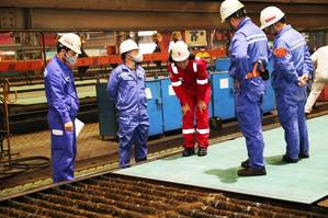 Work underway in the creation of IMOIIMeMAX methanol-fuelled 49,900 DWT vessel Stena Pro Patria. Photo: Stena Bulk