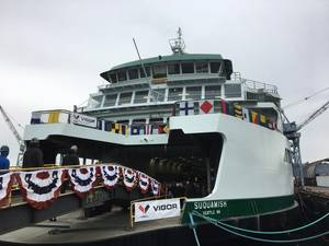Washington State's new ferry Squamish was christened at Vigor's Harbor Island Shipyard in Seattle, on January 4. (Photo: WSDOT)