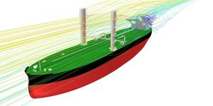 Rendering of the VLCC with the wings sails in place (Image: KSOE)