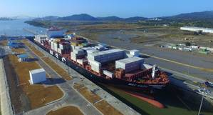 MSC Anzu as it transits the Cocoli Locks (Pacific side), becoming the 1,000th Neopanamax ship to transit the Expanded Canal. (Photo: ACP)