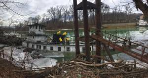 Gate City sunk and discharged oil near mile marker 8 on the Big Sandy River near Butler, West Virginia (U.S. Coast Guard courtesy photo)