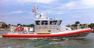 Coast Guard Station Wrightsville Beachs crew operate their recently recieved 45-foot Response Boat - Medium in the waters near Mansboro Inlet, N.C., June 17, 2013. The RB-M will replace the aging fleet of 41-foot Utility Boats and assorted non-standard boats being used by the Coast Guard throughout the country. (U.S. Coast Guard photo by Petty Officer 1st class Nicholas Hatzistefanou)