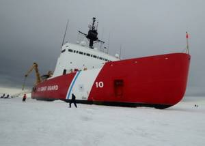 Polar Star sits on the ice in the Ross Sea near Antarctica while underway in support of Operation Deep Freeze 2015, Jan. 9, 2015. (U.S. Coast Guard photo by George Degener)