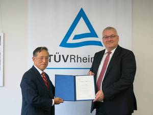 ClassNK Chairman and President, Koichi Fujiwara, handing over the appointment certificate to TÜV Rheinland's Executive Vice President Products, Holger Kunz (Photo: ClassNK)